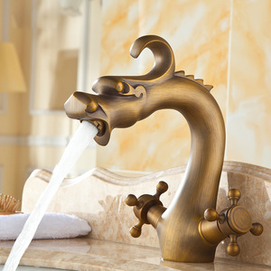 Vintage Chinese Dragon Designed Copper Bathroom Sink Faucet