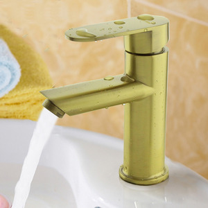 Discount Golden Polished Brass Sink Faucet For Bathroom