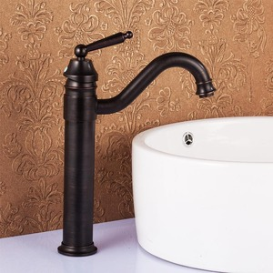 Antique Bronze Tall Vessel Mount Bathroom Sink Faucet