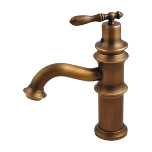 Antique Brass Brushed Single Handle Bathroom Sink Faucet