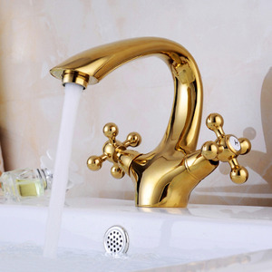 Vintage Gold Polished Brass Center Set Bathroom Sink Faucet
