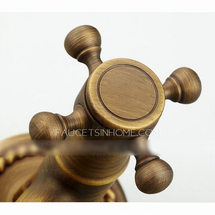 Vintage Antique Brass Rotatable Wall Mounted Bathroom Sink Faucet