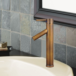 Antique Copper Tall Vessel Mount Sink Faucet For Bathroom