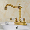 Antique Brass Two Handles Two Hole Bathroom Sink Faucet