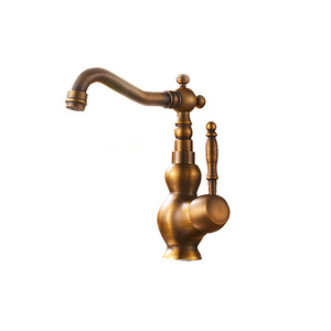 Antique Brass Rotatable Long Spout Bathroom Sink Faucet