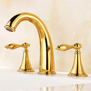Antique Golden Three Hole Vintage Bathroom Sink Faucet