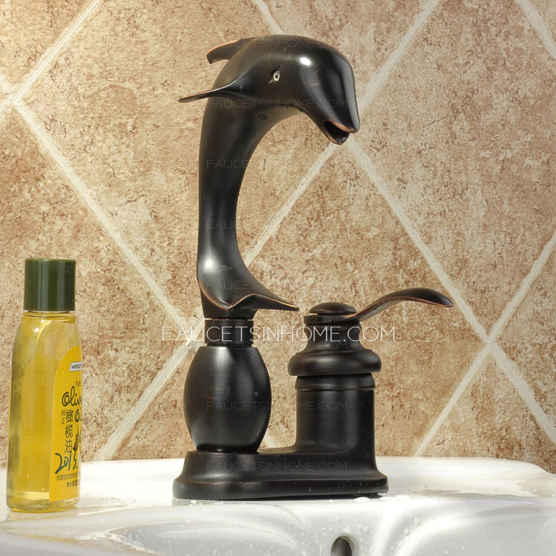 Antique dolphin shaped black copper bathroom sink faucet - Dolphin faucets ...