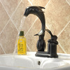 Antique Dolphin Shaped Black Copper Bathroom Sink Faucet