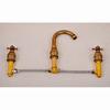 Antique Copper Three Hole Deck Mount Bathroom Basin Faucet