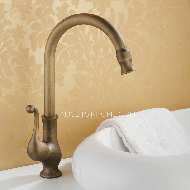 Cheap Antique Copper Vessel Mount Bathroom Basin Faucet