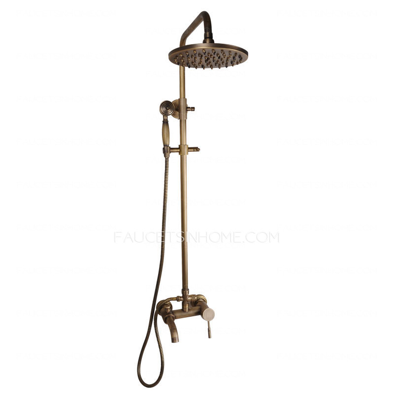 Antique copper shower faucet system with hand held shower for Copper in shower water
