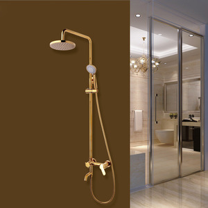 Modern Gold Three Hole Wall Mout Outdoor Shower Faucet