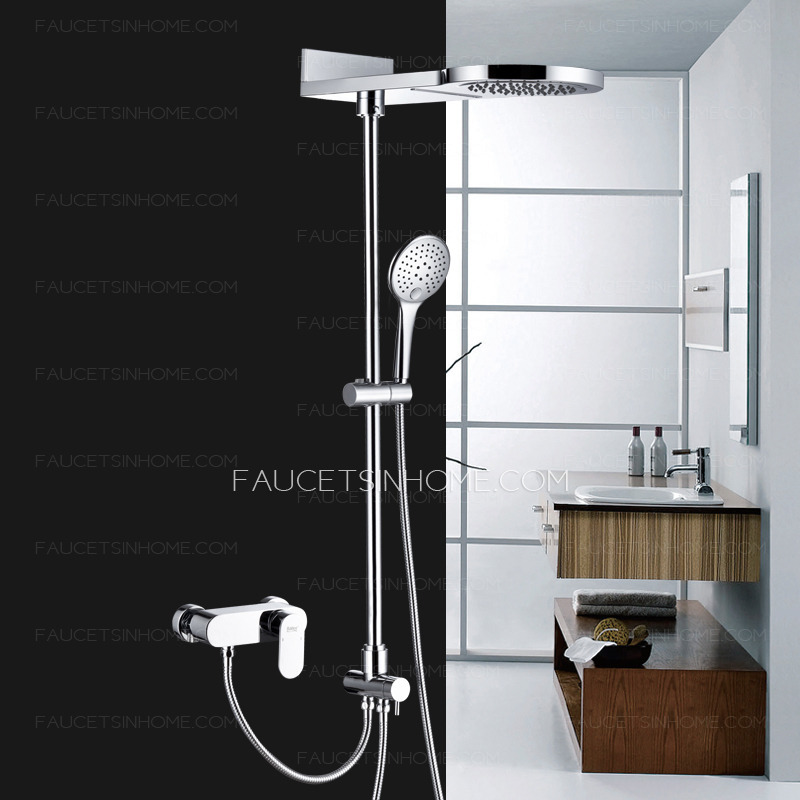 Modern waterfall top split type copper shower faucet system for Copper in shower water