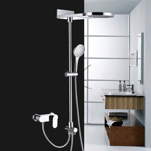 Modern Waterfall Top Split Type Copper Shower Faucet System