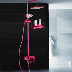 Fashion Rose Red Brushed Copper Shower Faucet System