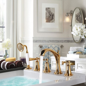 Antique Golden Split Type Five Set Copper Bathtub Faucet