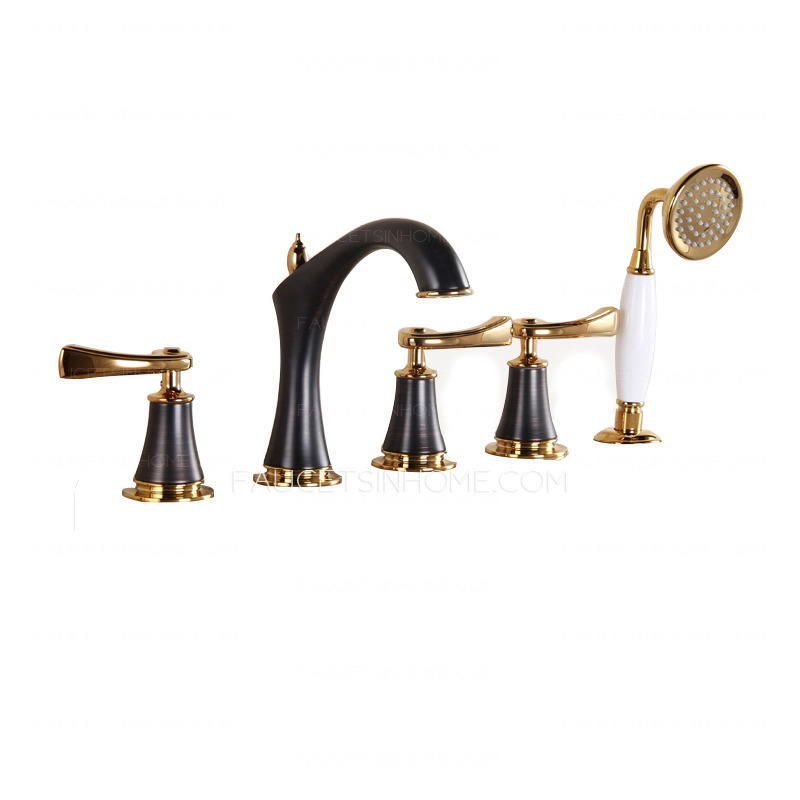 antique black brushed sidespray five set bathtub faucet