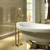 Luxury Golden Vintage Handle Freestanding Bahttub Faucet For Bathroom