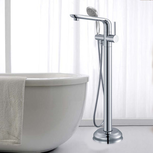 Luxury Silver Chrome Hand Shower Freestanding Bathtub Faucet