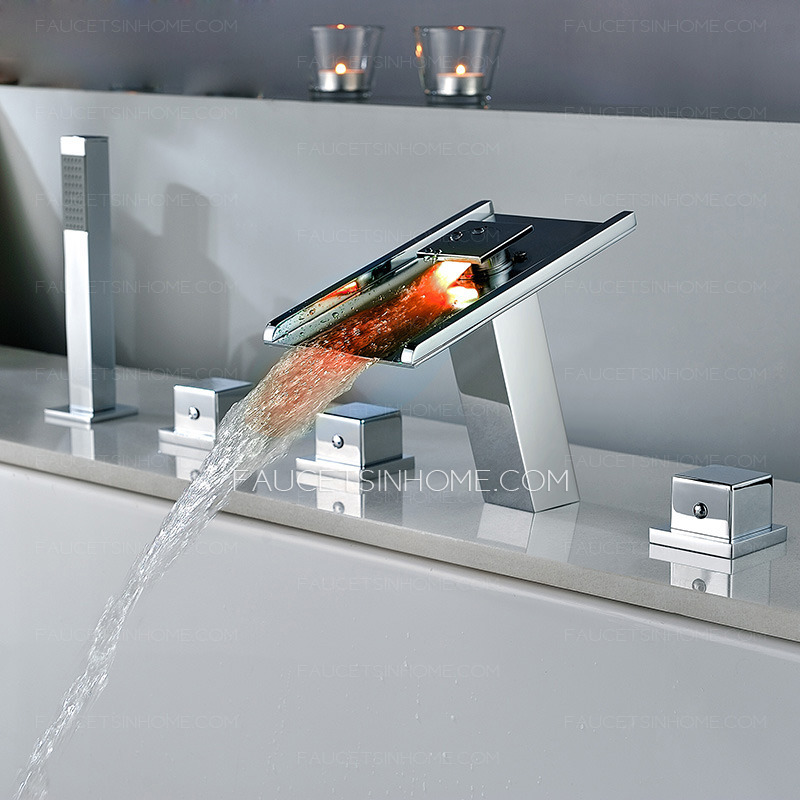 High end waterfall led five set bathtub shower faucet - Led waterfall faucet ...