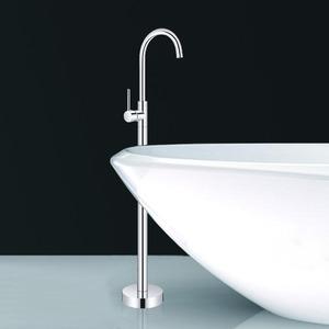 Simple Freestanding Copper Single Handle Bathtub Faucet