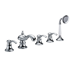 Antique Silver Five Set Teapot Style Bathtub Shower Faucet