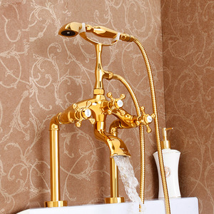 Vintage Polished Brass Sidespray Sitting Bathtub Shower Faucet