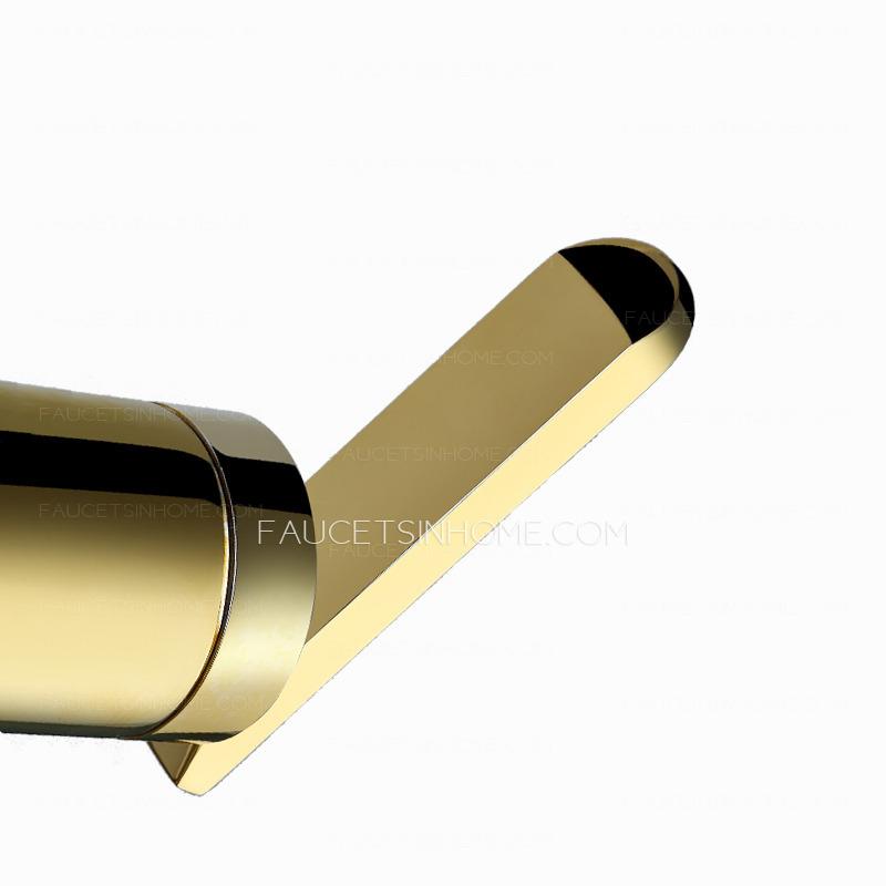 Luxury Golden Two Hole Floor Mount Bathtub Shower Faucet