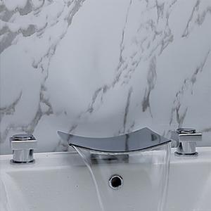 Modern Arc Waterfall Spray Three Set Bathtub Faucet