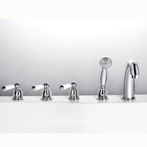 Antique Silver Five Set Sidespray Bathtub Shower Faucet