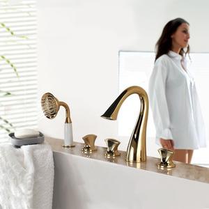 Designed Gold Swan Neck Sidespray Bathtub Shower Faucet