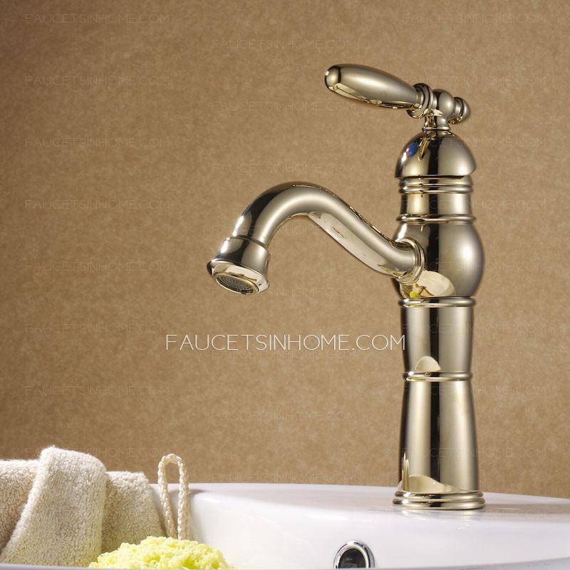 Sleek Antique Polished Brass Gold Bathroom Sink Faucet