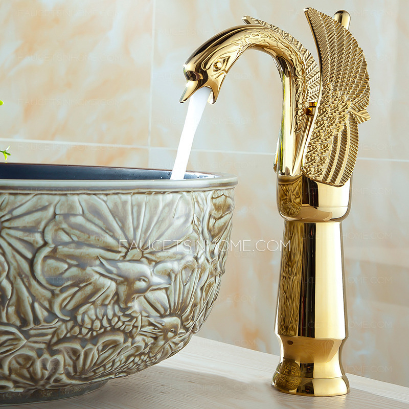 gold single hole bathroom faucets