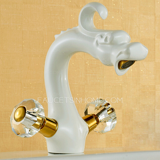 Vintage Chinese Dragon Style White Painting Bathroom Faucet