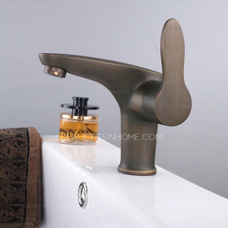 Antique Copper Short Deck Mount Bathroom Faucet