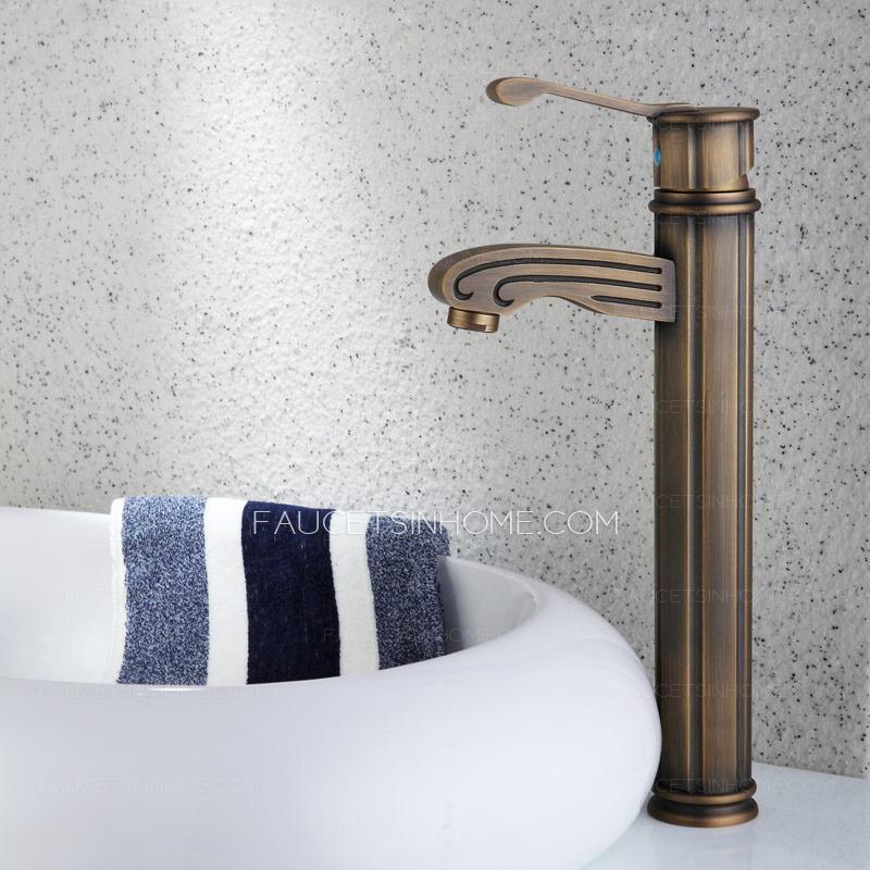 Antique Copper Vessel Mount Carving Bathroom Sink Faucet