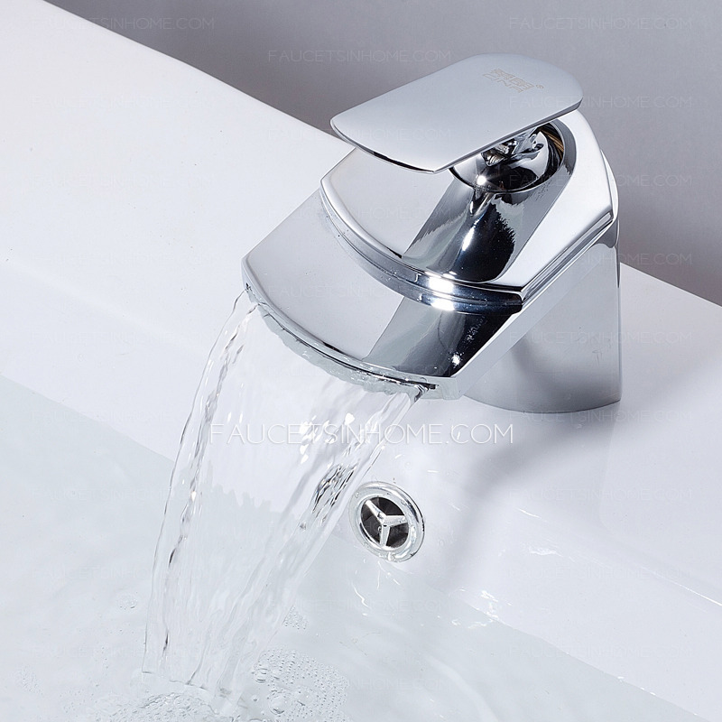 High end waterfall streamlined handle bathroom sink faucet for High end bathroom sink
