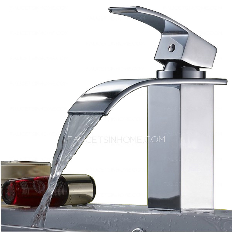 Modern Bent Square Shaped Waterfall Spout Bathroom Sink Faucet