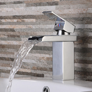 Discount Hollow Waterfall Square Shaped Bathroom Sink Faucet