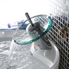 Discount Glass Spout Waterfall Bathroom Sink Faucet