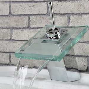 Cheap Square Shaped Glass Waterfall Bathroom Basin Faucet