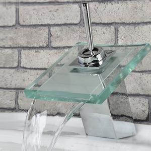 Cheap Square Shaped Glass Waterfall Bathroom Basin Faucet