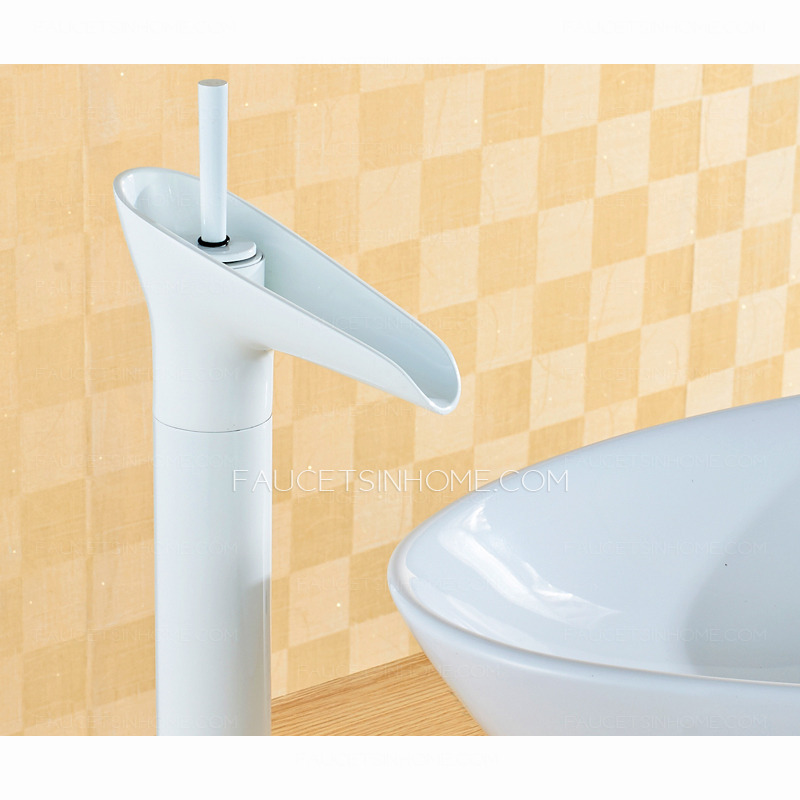 ... Faucets > Modern White Painting Wineglass Shaped Tall Bathroom Faucet