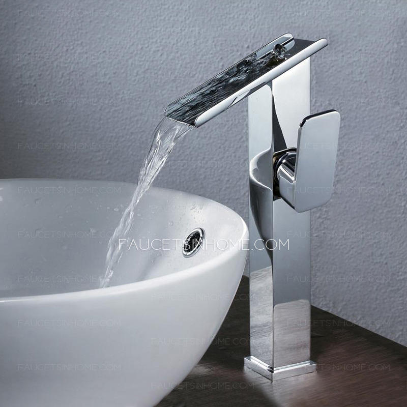 High End Faucets : ... Faucets > High End Tall Waterfall Vessel Mount Bathroom Sink Faucet