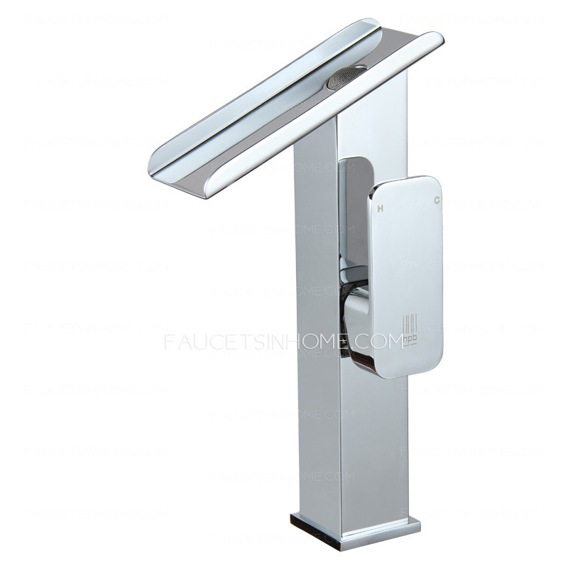 High end tall waterfall vessel mount bathroom sink faucet for High end bathroom sink