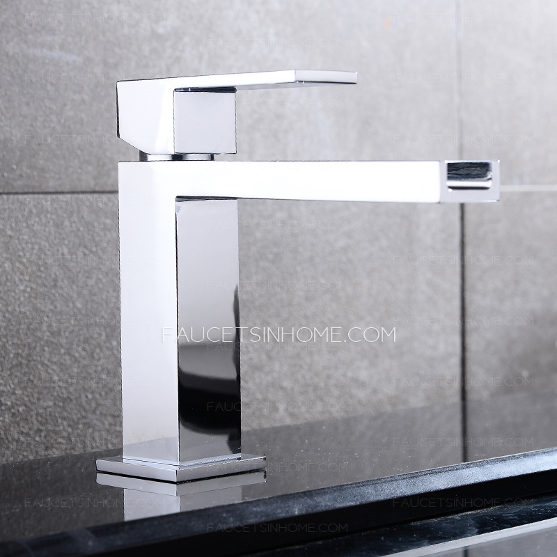 Square Shaped Long Waterfall Spout Bathroom Sink Faucet