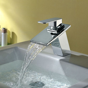 High End Waterfall Sloped Square Shaped Bathroom Sink Faucet