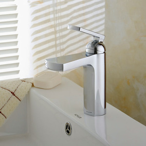 Cool Sector Shaped Waterfall Deck Mount Faucet For Bathroom