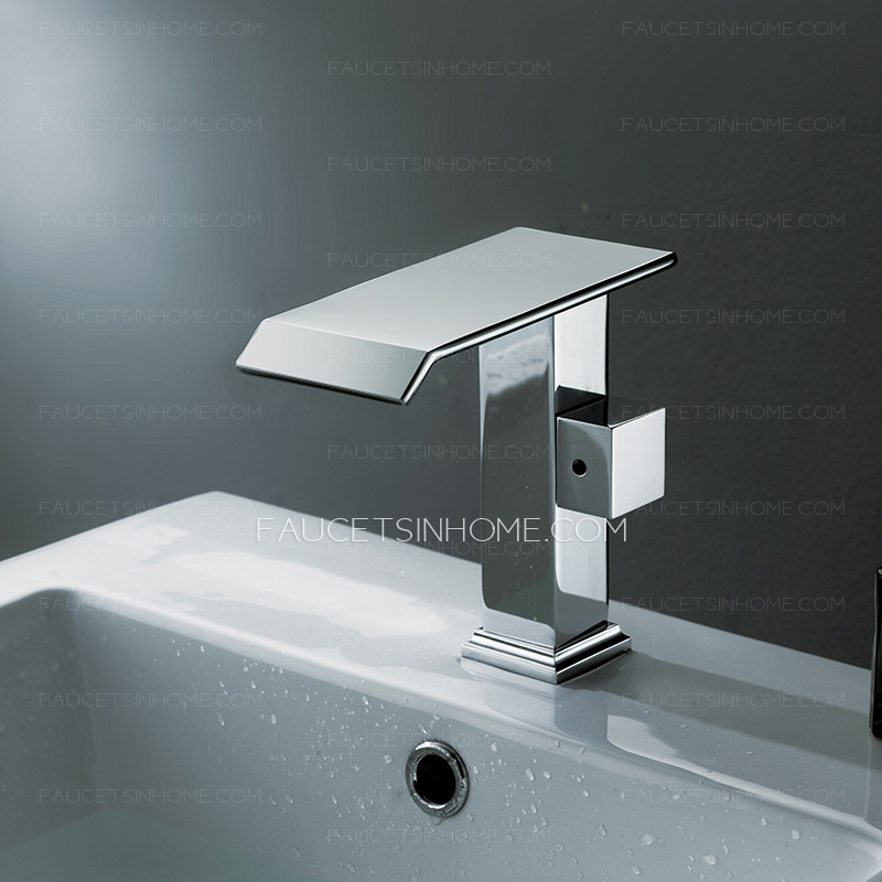Cool Bathroom Faucets : ... Faucets > Cool Square Shaped Side Handle Waterfall Bathroom Faucet