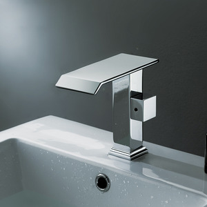 Cool Square Shaped Side Handle Waterfall Bathroom Faucet